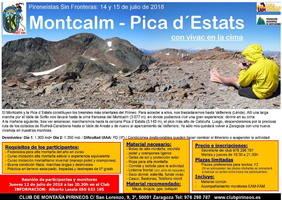 mini Cartel Montcalm - Pica d´Estats 14 15 julio 2018